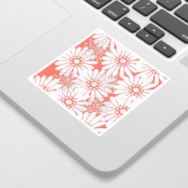 Summer Flowers Living Coral Sticker
