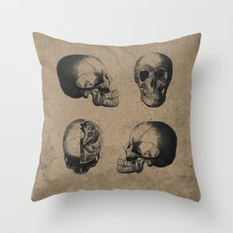 Skull View - Antique Vintage Style Medical Etching Throw Pillow