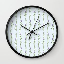 Modern artistic pastel blue lavender watercolor floral pattern Wall Clock