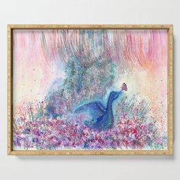 Mystical Blue Bird Watercolor Art Serving Tray