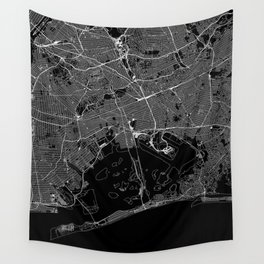 Queens Black Map Wall Tapestry