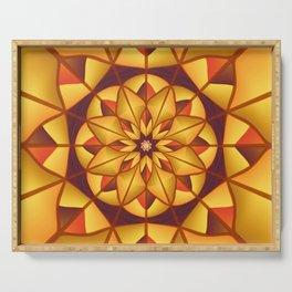 Golden geometric flourish Serving Tray