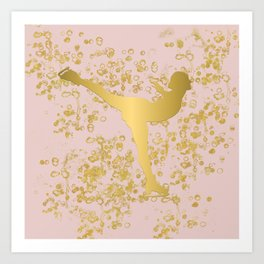 Figure Skater in Golden Flakes and Pink-Graphic Design Art Print