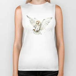 Barn Owl Flying Watercolor | Wildlife Animals Biker Tank