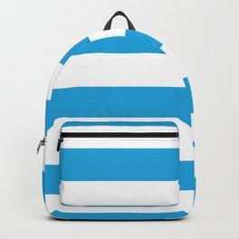 Oktoberfest Bavarian Blue and White Large Cabana Stripes Backpack