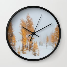 Vibrant Larch Trees Wall Clock