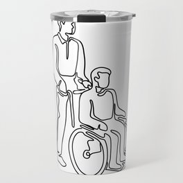 Patient on Wheelchair Continuous Line Travel Mug