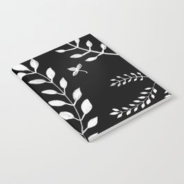 White Leaves Pattern #3 #drawing #decor #art #society6 Notebook