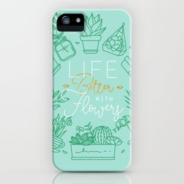 Monogram pots life better with flowers turquoise iPhone Case