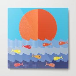 Fish fishing for friends Metal Print