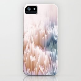 Etherial light in blush and blue - Glitch art iPhone Case