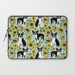 Boston Terrier sunflower floral dog breed pet portrait pet friendly pattern dogs gifts Laptop Sleeve