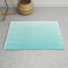Modern teal watercolor gradient ombre brushstrokes pattern Rug