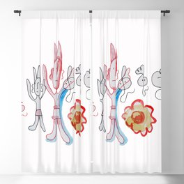 Red Devil With Ghosts and Flower Blackout Curtain