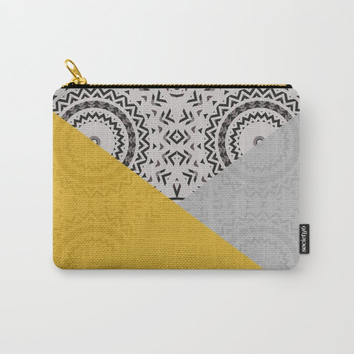 Yellow and Grey Triangles Carry-All Pouch