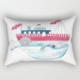 Paddle Boat Whale Rectangular Pillow