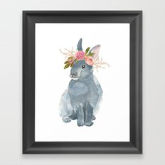 bunny with flower crown Framed Art Print