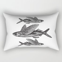 Flying Fish | Black and White Rectangular Pillow