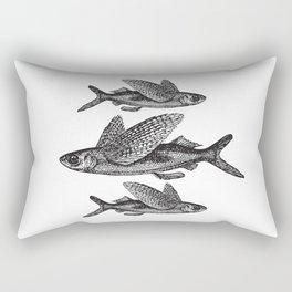 Flying Fish | Vintage Flying Fish | Black and White | Rectangular Pillow