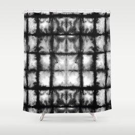 BW Shibori Grid Shower Curtain