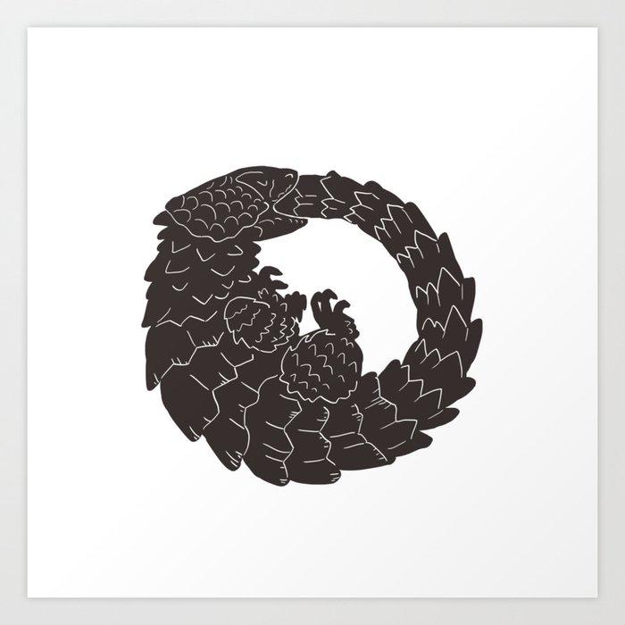 Armadillo Lizard Circle Art Print by deeerking