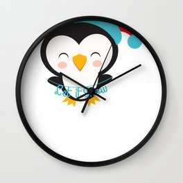 Christmas Penguins Let it Snow Christmas Penguin Wall Clock