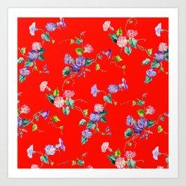 morning glories on red Art Print
