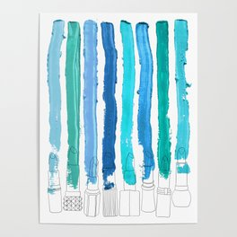 Lipstick Stripes - Blue Teal Turquoise Poster