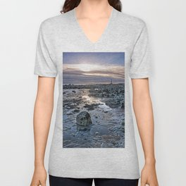 Sundown At The Lighthouse Unisex V-Neck