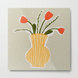 A Fresh Bouquet Of Tulips and Herbs Metal Print