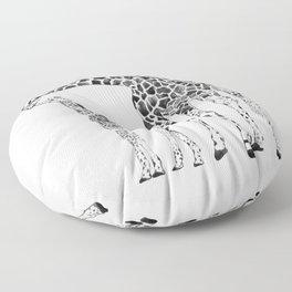 Giraffes, black and white Floor Pillow