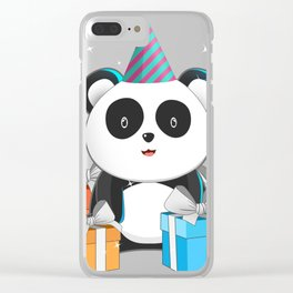 Panda Bear With Birthday Hat Gift Idea T-Shirt Clear iPhone Case