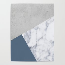 NAVY BLUE MARBLE GRAY GEOMETRIC Poster