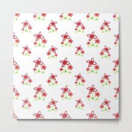 Cute Floral Drawing Pattern Metal Print