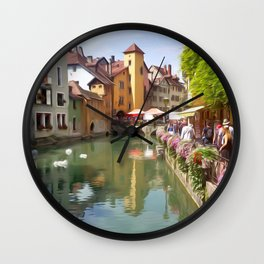 Riverfront Village Artwork Wall Clock