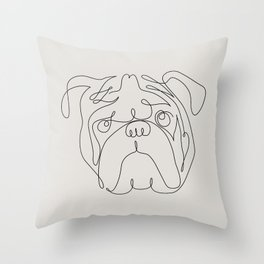 One Line English Bulldog Throw Pillow