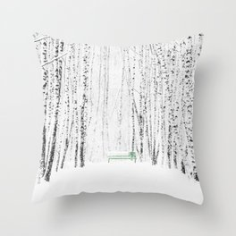Green bench in white winter forest Throw Pillow