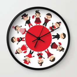 Spanish flamenco dancer. Kawaii cute face with pink cheeks and winking eyes. Gipsy Wall Clock