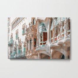 Casa Batllo, Antoni Gaudi Architecture, Barcelona City Print, Famous Landmark, Travel Print, House Facade, Modernist Building, Spanish Organic Motifs Metal Print