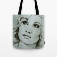 dolly parton Tote Bags featuring Dolly Parton by Talula Christian