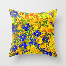 blue flowers by a sunny day Throw Pillow