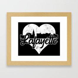Retro Lafayette Indiana Skyline Heart Distressed Framed Art Print