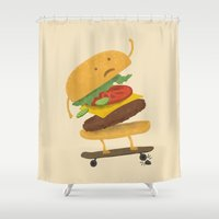 skateboard Shower Curtains featuring Burger Wipe-out by Terry Fan