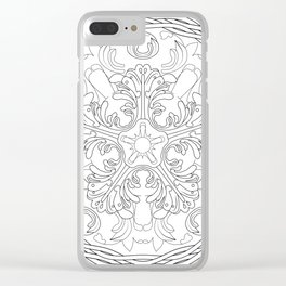 Round ornament with floral ancient Greek motif Clear iPhone Case