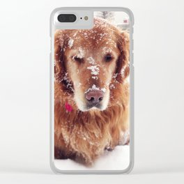 Snowy Face Dog Clear iPhone Case