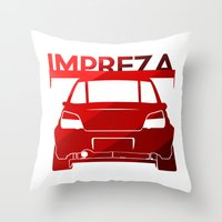 subaru Throw Pillows featuring Subaru Impreza - classic red - by Vehicle