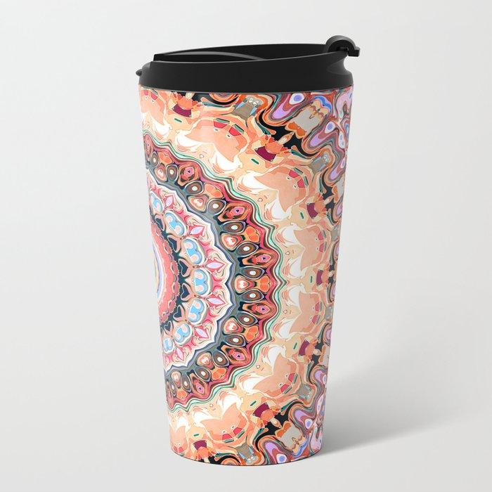Textured Circles Abstract Metal Travel Mug