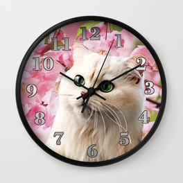 Cat and Flowers Wall Clock