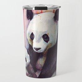 Rainbow Pandas Watercolor Mom and Baby Panda Nursery Art Travel Mug