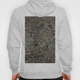 Glam black gray faux gold creased paper floral Hoody